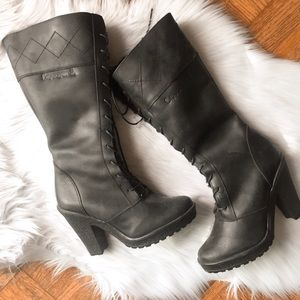 NEW Bearpaw Lace up Heeled Fur Boots